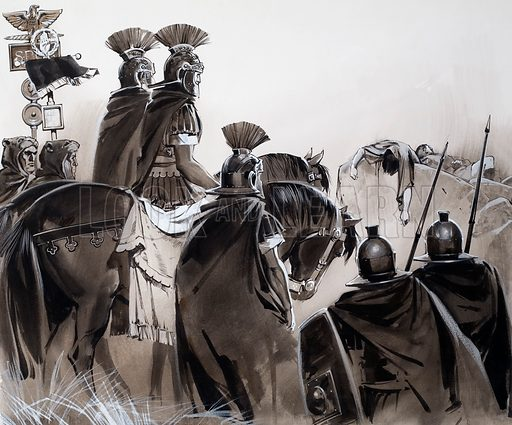 Roman soldiers after a battle. Original artwork for an illustration in L&L (issue as yet unidentified).