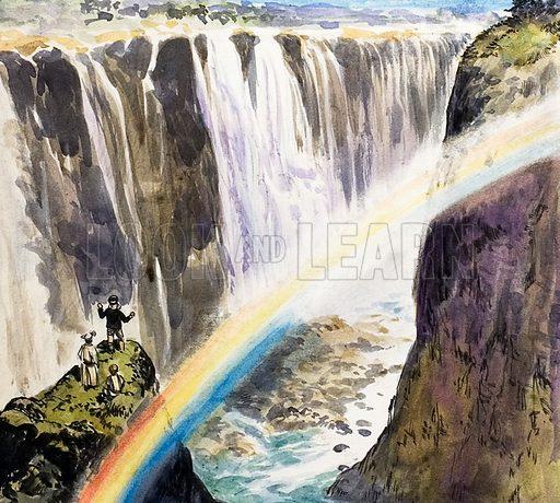 Livingstone at Victoria Falls, picture, image, illustration