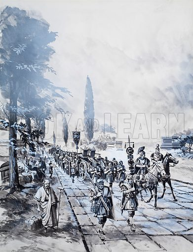 Roman legion marching along a road. Original artwork for an illustration in Look and Learn (issue yet to be identified).