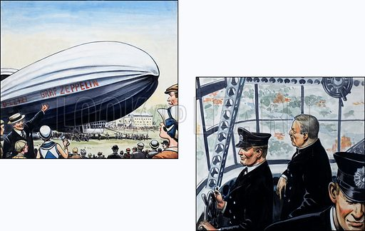 The Graf Zeppelin.  Original artwork for illustrations on p92 of the World of Knowledge annual 1983.  Lent for scanning by The Gallery of Illustration.