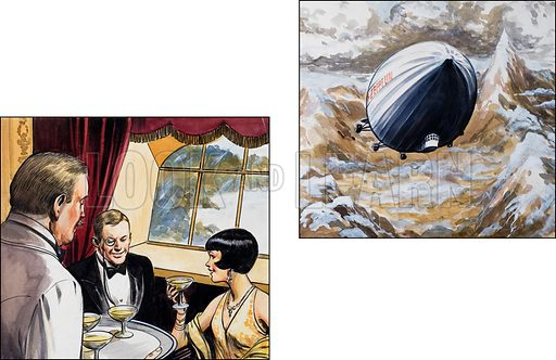 The Graf Zeppelin. Original artwork for illustrations on p93 of the World of Knowledge annual 1983.