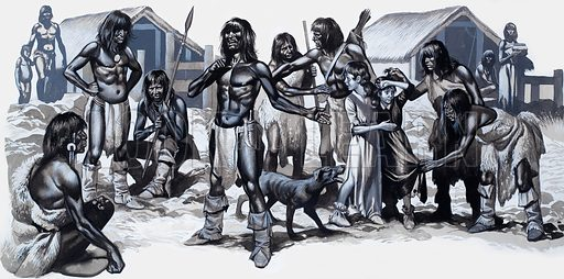 Indians with two white children. Original artwork for Look and Learn (issue yet to be identified).