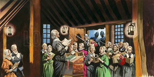 Nonconformists who became the Pilgrim Fathers. During the seventeenth century Parliament tried to stop all nonconformists holding meetings and even tried to force them to join the Church of England. All over the country they were persecuted but they continued to flourish until soldiers were sent to break up their meetings.
