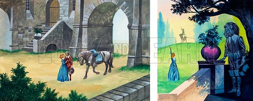 Original artwork for two illustrations for Beauty and the Beast from Once Upon a Time.
