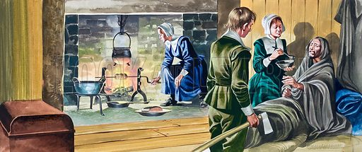 The Pilgrim Fathers. In half-built houses...the sick suffered in cold and miserable conditions. Original artwork for one of the illustrations on p21 of L&L issue no. 452 (12 September 1970).