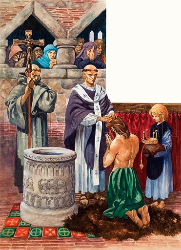 The baptism of a royal personage, probably an English king, by a priest who may well be Augustine. Original artwork for an illustration in either Treasure or The Bible Story (issue as yet to be identified).