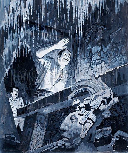 The Jade Man – Alberto Ruz of Palenque. The underground chamber glittered in the torchlight like an Ice King's palace. Original artwork for the illustration on p9 of L&L issue no. 359 (30 Nov 1968).