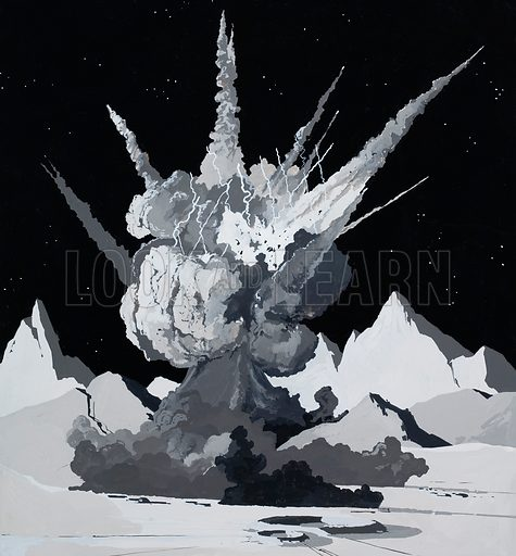 Illustration to Arthur C Clarke story. Directly ahead of him, Cliff saw a vast cloud of dust expanding towards the stars like a volcano in eruption. Original artwork for illustration on p28 of Speed & Power issue no 28.