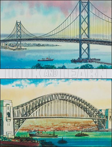 Bridges. Original artwork for illustration in Look and Learn (issue yet to be identified).