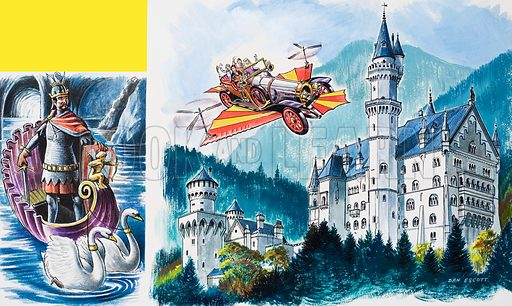 A flying car, possibly Chitty Chitty Bang Bang, passes by Neushwanstein in the Bavarian Alps. Either an opera singer or King Ludwig costumed as Wagner's Lohengrin. Original artwork for an illustration In Treasure (issue yet to be identified).