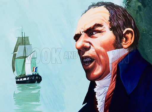 Portrait of man, with sailing ship behind. Original artwork for illustration in Look and Learn (issue yet to be identified).