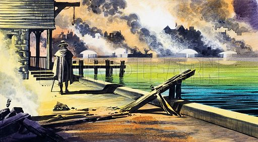 The Great Fire of London. London stopped blazing but still smouldered. John Evelyn, on the morning of 7th September, went on foot from Whitehall to London Bridge. Original artwork for one of the illustrations on pp 26-27 of L&L issue no. 244 (17 September 1966).