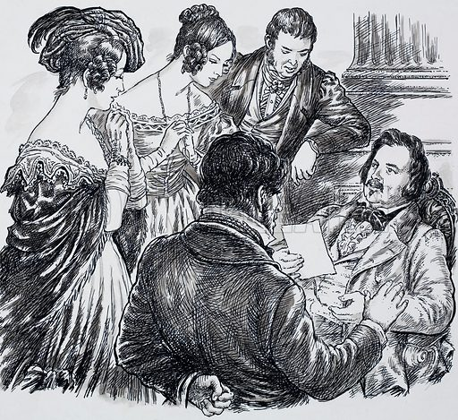 "Honore de Balzac. Surrounded by some of his many friends he would often complain ""I am a galley slave with a pen"". Original artwork for one of the illustrations on p27 of L&L issue no. 628 (26 January 1974)."