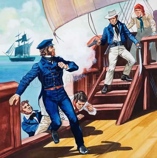 Pirates attempting to elude law officers. Original artwork for an illustration in Treasure.