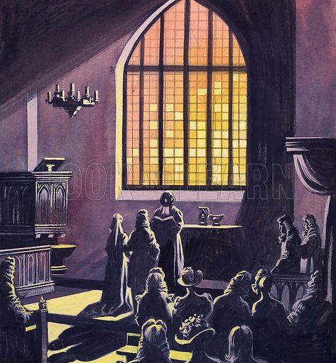 Eighteenth century wedding scene in a darkened church. Original artwork for an illustration in L&L (issue as yet unidentified).