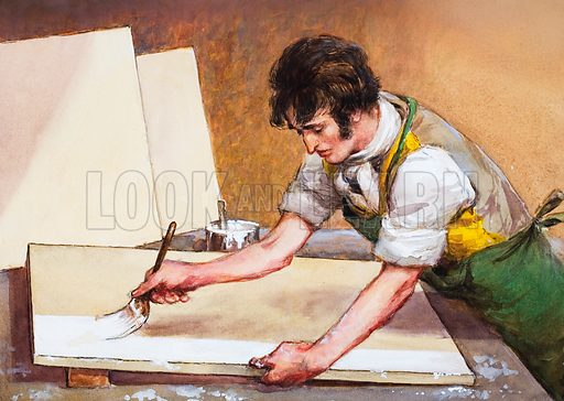 Constable priming his canvas. Original artwork for one of the illustrations on p23 of L&L issue no 185 (31 July 1965).