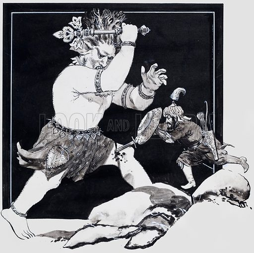 Persian Legends. One of Rustem's celebrated achievements was the slaying of the White Demon in the mountains of Tabaristan in ancient Persia. Original artwork for the illustration on p31 of L&L issue no. 437 (30 May 1970).