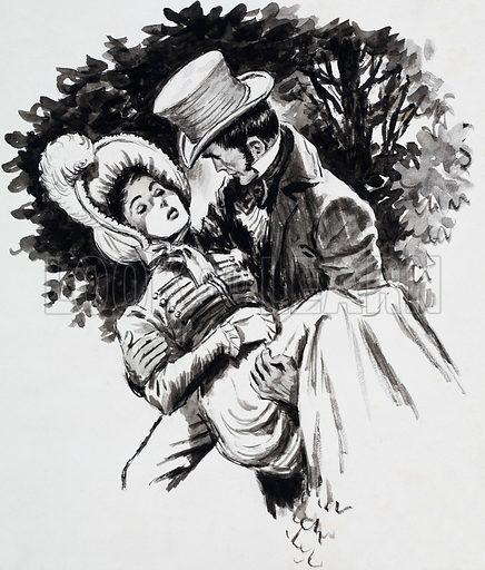 Jane Austen and Her Work. Marianne Dashwood and John Willoughby from Sense and Sensibility. Original artwork for one of the illustrations on p5 of L&L issue no. 142 (3 October 1964).