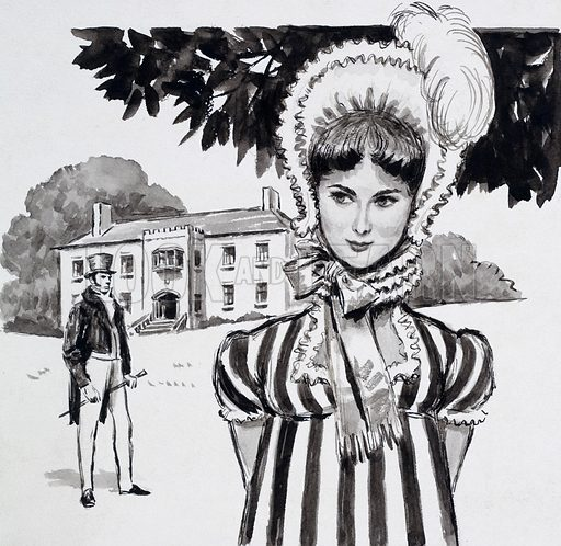 Jane Austen and Her Work. Fanny Price at Mansfield Park with her cousin Edmund in the background. Original artwork for one of the illustrations on p5 of L&L issue no. 142 (3 October 1964).