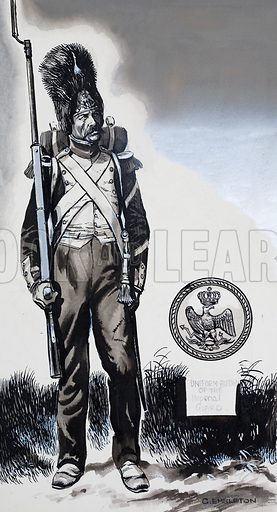 Soldier in Uniform of the Imperial Guard.  Original artwork for Look and Learn (issue yet to be identified).  Lent for scanning by The Gallery of Illustration.