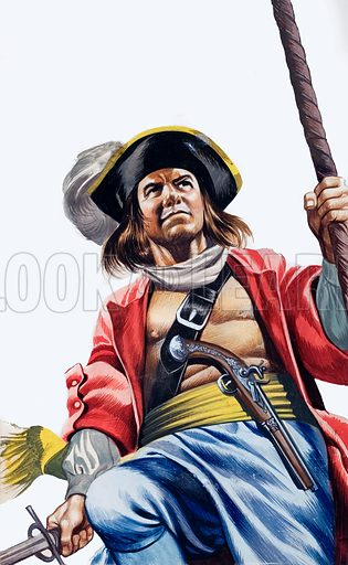 Men of the Jolly Roger: Morgan -- Terror of the Main.  Original artwork for illustration on p28 of Look and Learn issue no 164.  Lent for scanning by The Gallery of Illustration.