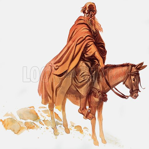 Bearded Man on Horse. Original artwork for Look and Learn (issue yet to be identified).