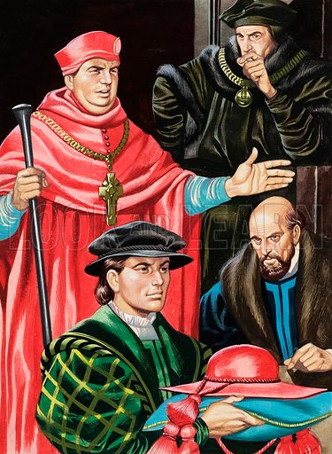 Cardinal Wolsey and Sir Thomas More.  Original artwork for Look and Learn (issue yet to be identified).  Lent for scanning by The Gallery of Illustration.