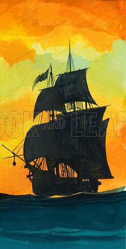 Sailing Ship.  Original artwork for Look and Learn (issue yet to be identified).  Lent for scanning by The Gallery of Illustration.
