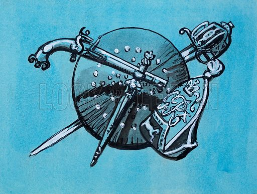 Implements of War, including highland steel pistol, dirk and broadsword, and also an English Gernadier's cap. Original artwork for illustration on p56 of The Ranger Annual 1967.