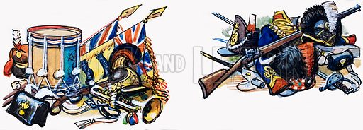 Military Paraphernalia.  Original artwork for illustration in Ranger.  Lent for scanning by The Gallery of Illustration.