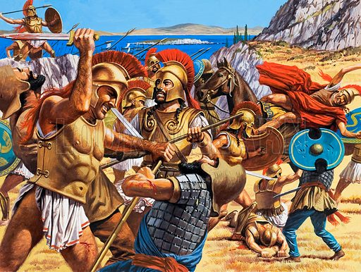 The Menace in the East. Greatly outnumbered at Marathon by the invading Persians, the Athenians finally overcame their more lightly armed foe. Original artwork for one of the illustrations on p7 of L&L issue no. 985 (24 January 1981).