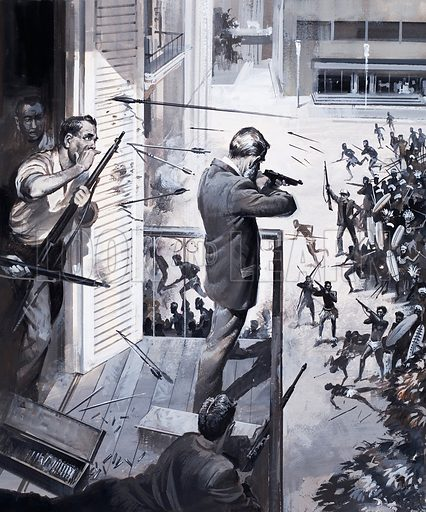 An abridgement of Propeller Island by Jules Verne. An angry mob led by Captain Saros attacked the town hall. Desperately the defenders fought back, for, if they failed, Milliard City was doomed. Original artwork for the illustration on p27 of L&L issue no. 110 (22 February 1964).