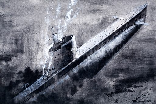 Total darkness prevailed as the 'Squalus' struck the bottom with a 1,475-ton thump. Original artwork for the illustration on p6 of L&L issue no. 336 (22 June 1968).