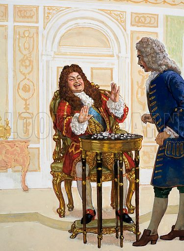 King Louis laughed when told that there was a curse on one of the diamonds laid out on the table before him. Original artwork for the illustration on p2 of L&L issue no. 990 (28 February 1981).