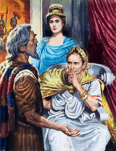 Felix. He was the Roman governor of Caesarea just after the death of Jesus. The Apostle is shown in our picture as he stands before Felix and his Jewish wise, Drusilla, answering the charges that had been brought against him by his enemies. Felix ghave Paul his freedom and thereafter often held long discussions with the apostle.  Original artwork for illustration on p24 of The Bible Story issue no 14.  Lent for scanning by the Illustration Art Gallery.