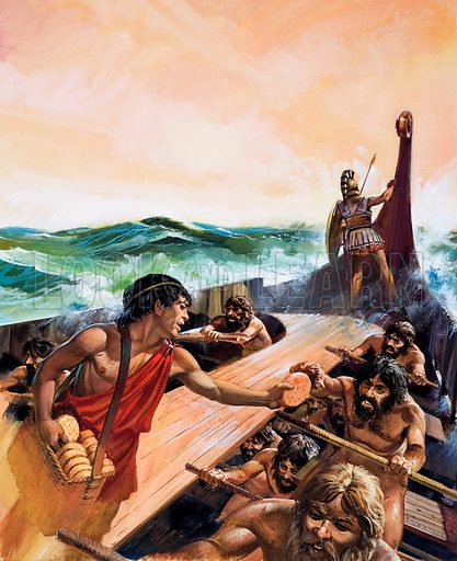 Athenian trireme, warship of ancient Greece. When Greek fought Greek. As the Athenian ship sped across the Aegean sea the oarsmen took their meals while they rowed so as to lose no time on their life-or-death mission.