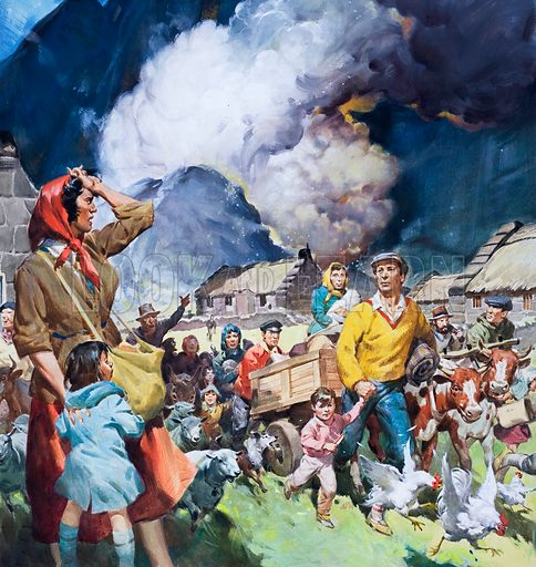 Families leaving natural disaster.  Original artwork for Look and Learn (issue yet to be identified).  Lent for scanning by The Gallery of Illustration.