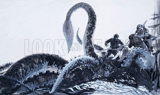 Sea monster: giant squid caught in a fishing net. Monsters from the deep. The monster had been caught – entangled in a fishing net. Now came the dangerous task of hauling it ashore. Original artwork for the illustration on p39 of L&L issue no. 551 (5 August 1972).
