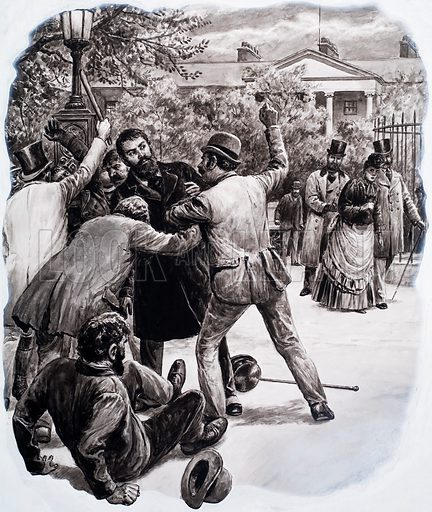 Assailants attack a group of men, possibly politicians, in a fashionable city square. Original artwork for an illustration in L&L (issue as yet unidentified).