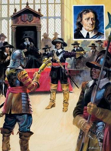 The Dictator who stopped the Dancing. When, in 1653, self-interested  MPs attempted to pass a law allowing them to rule indefinitely, Cromwell simply marched in with a body of troops and cleared the building. Inset: Oliver Cromwell. Original artwork for illustrations on p7 of L&L issue no. 915 (4 August 1979).