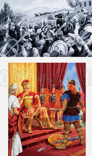 The Story of France. A Roman Emperor probably taking an oath of fealty from the leader of the defeated Galls. Top: a decisive battle in the struggle in the Gallic wars. Original artwork for illustrations in L&L (issue as yet unidentified).