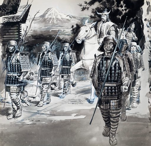 Asian Warriors.  Original artwork for Look and Learn (issue yet to be identified).  Lent for scanning by The Gallery of Illustration.