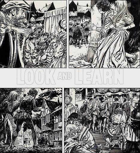 Tudor scenes.  Original artwork for Robin (issue yet to be identified).  Lent for scanning by The Gallery of Illustration.
