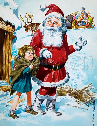 Father Christmas. Original artwork for illustration in Once Upon a Time (issue yet to be identified).