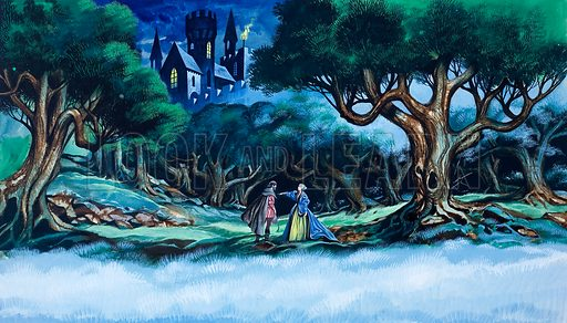 Queen and the Huntsman.  Original artwork for illustration to Snow-White and the Seven Dwarfs on p3 of Once Upon a Time issue no 39.  Lent for scanning by The Gallery of Illustration.