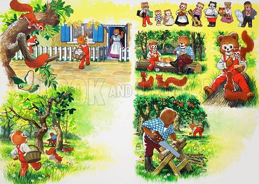 Teddy Bears (with hidden images).  Original artwork for illustration in Jack and Jill issue of 31 October 1981.  Lent for scanning by the Illustration Art Gallery.