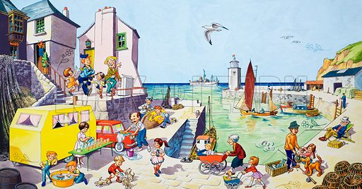 Harbour Scene (with hidden images). Original artwork for Jack and Jill (issue yet to be identified).