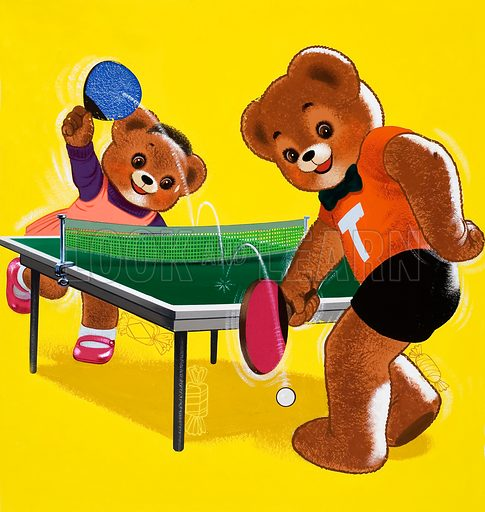 Teddy Bears playing table tennis (with hidden objects).  Original artwork for Teddy Bear (issue yet to be identified).