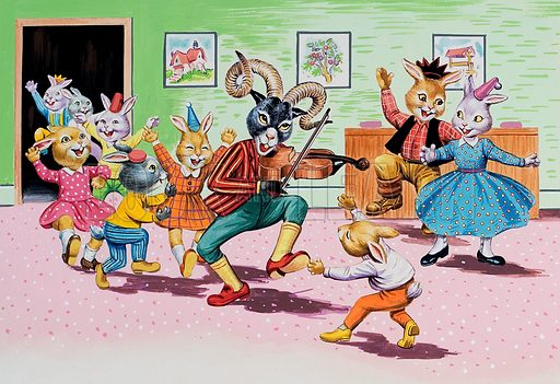 A party at Brer Rabbit's House.  Original artwork for illustration on p6 of Once Upon a Time issue no 160.  Lent for scanning by the Illustration Art Gallery.