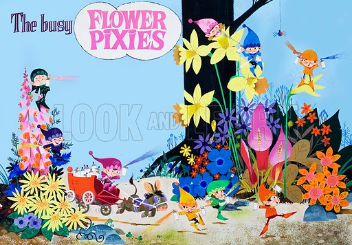 Flower Pixies. Original artwork for illustrations on pp40–41 of Jack and Jill annual 1983.